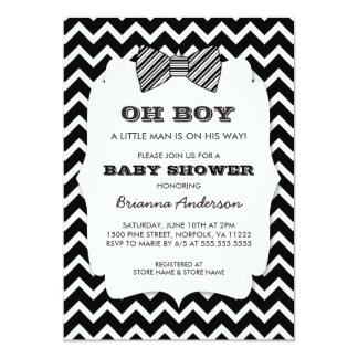 Black bow tie baby shower invitations announcements zazzle oh boy bow tie baby shower black white chevron card filmwisefo Images