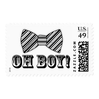 OH BOY! Bow tie Baby Shower black white Postage