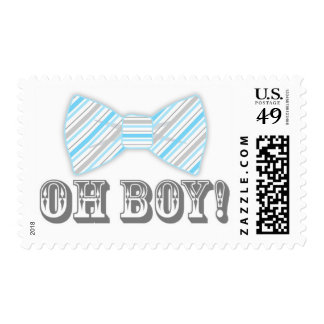 OH BOY! Bow tie Baby Shower blue gray Postage