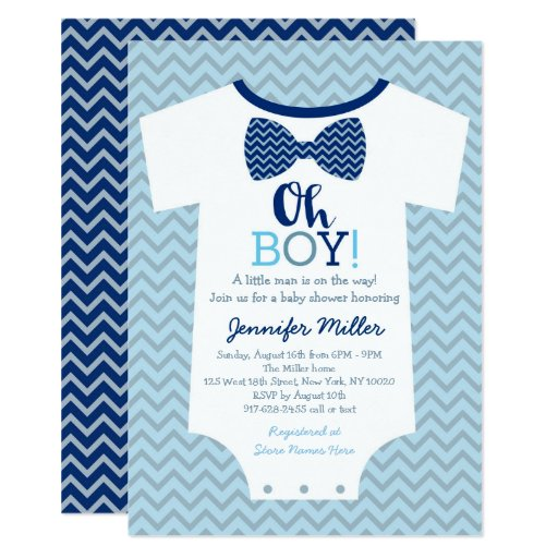 Oh Boy Bow Tie Baby Shower Card