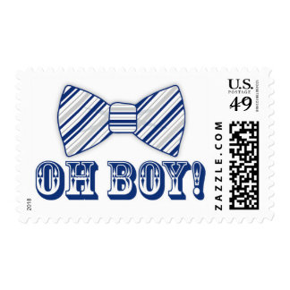 OH BOY! Bow tie Baby Shower navy blue gray Postage Stamp