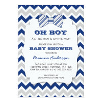 Oh boy baby shower invitations announcements zazzle oh boy bow tie baby shower navy gray chevron filmwisefo Choice Image