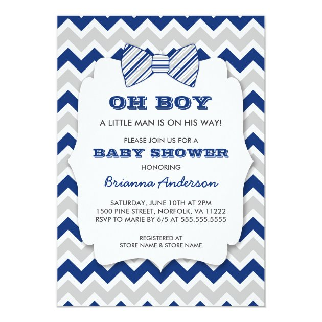 oh boy bow tie baby shower / navy gray chevron card   zazzle, Baby shower invitations