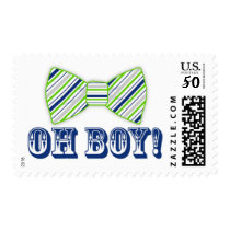 OH BOY! Bow tie Baby Shower navy green Postage