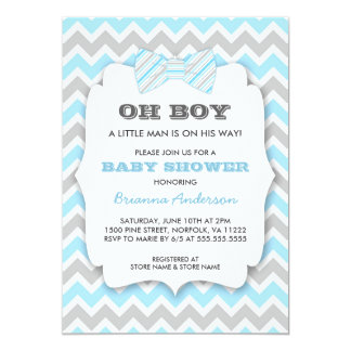 OH BOY Bowtie baby shower / blue gray chevron Card