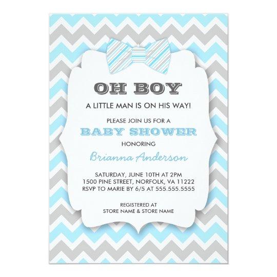 Oh Boy Bowtie Baby Shower Blue Gray Chevron Invitation