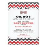 OH BOY Bowtie baby shower invites / red gray grey