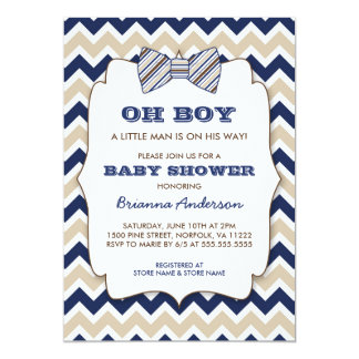 OH BOY Bowtie baby shower / navy tan brown chevron Card