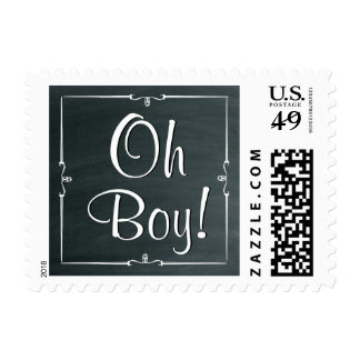 Oh Boy!  Chalkboard Baby Shower or Announcement V2 Postage Stamp