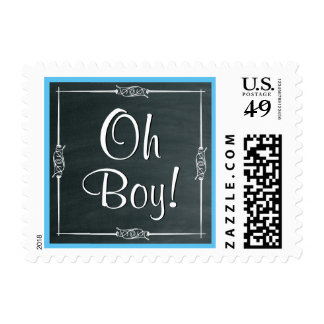 Oh Boy!  Chalkboard Baby Shower or Announcement V3 Postage Stamp