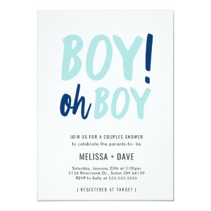 Baby Shower Invitations Boy! Oh Boy, Blue White