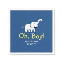 Oh Boy Elephant Navy Blue Baby Shower Paper Napkin
