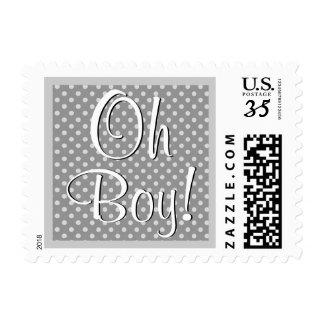 Oh Boy! Gray Polka Dots Baby Shower V04A1 Postage
