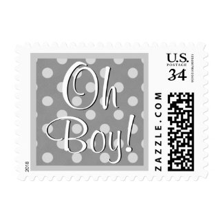 Oh Boy! Gray Polka Dots Baby Shower V04A Postage Stamp