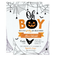 Oh Boy! Halloween Pumpkin Baby Shower Invitation