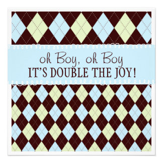 Oh Boy It s Twins Argyle Baby Boys Twin Shower Personalized Announcements