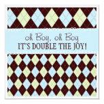 Oh Boy It's Twins Argyle Baby Boys Twin Shower Card