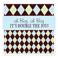 Oh Boy It's Twins Argyle Baby Boys Twin Shower Personalized Announcements