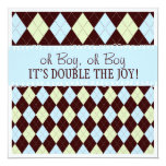 Oh Boy It's Twins Argyle Baby Boys Twin Shower 5.25x5.25 Square Paper Invitation Card