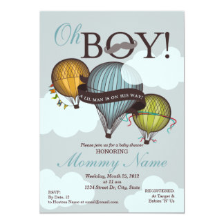 "Oh Boy Lil Man Hot Air Balloon Shower Invitation 5"" X 7"" Invitation Card"