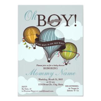 Oh Boy Lil Man Hot Air Balloon Shower Invitation