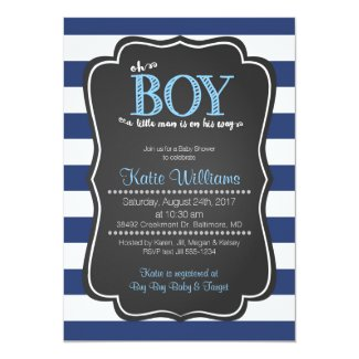 Oh Boy Little Man Baby Shower Invitation