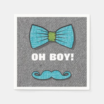 """Toddler & Baby themed OH BOY """"Little Man"""" Baby Shower paper napkins"""