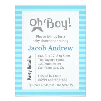 "Oh Boy, Modern, Minimalist, Baby Shower Invitation 4.25"" X 5.5"" Invitation Card"