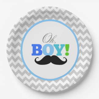 Oh Boy Mustache Baby Shower Chevron Paper Plate