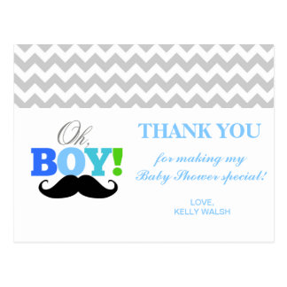 Oh Boy Mustache Baby Shower Chevron Thank You Note Postcard