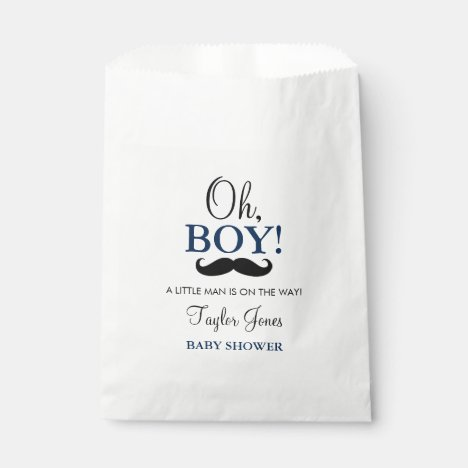 Oh Boy Mustache Baby Shower Favor Bags