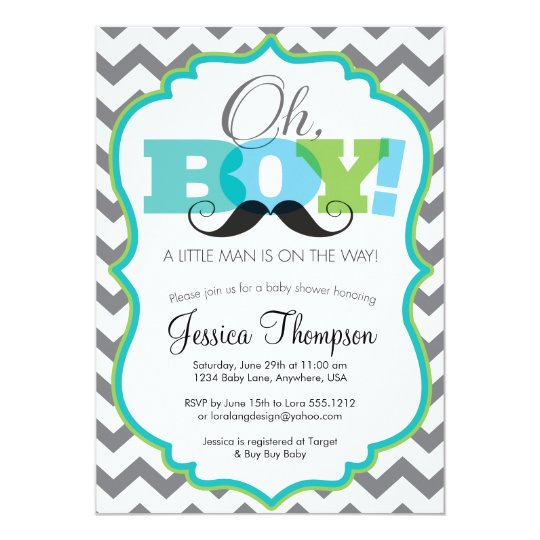 Oh Boy Mustache Baby Shower Invitation Zazzle Com