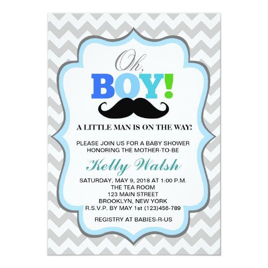 Oh boy mustache baby shower invitations chevron zazzle oh boy mustache baby shower invitations chevron filmwisefo