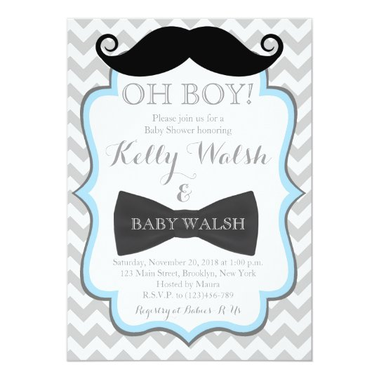 Oh Boy Mustache Baby Shower Invitations Chevron