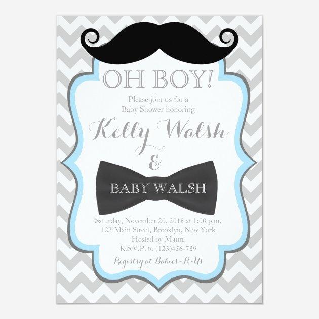 Custom mustache baby shower invitation invites templates babyfavors4u oh boy mustache baby shower invitations chevron filmwisefo