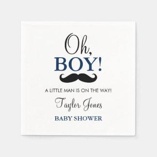 Oh Boy Mustache Baby Shower Napkins