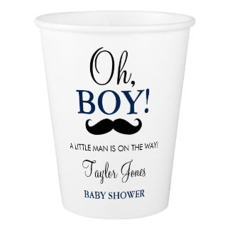 Oh Boy Mustache Baby Shower paper cups