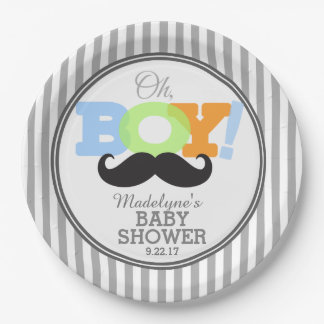 Oh Boy Mustache Baby Shower Paper Plate