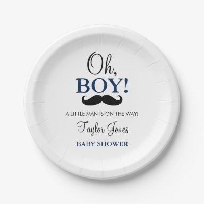 Mustache Baby Shower Paper Plates Little Man Blue Paper Plate | Zazzle.com  sc 1 st  Zazzle : mustache paper plates - pezcame.com