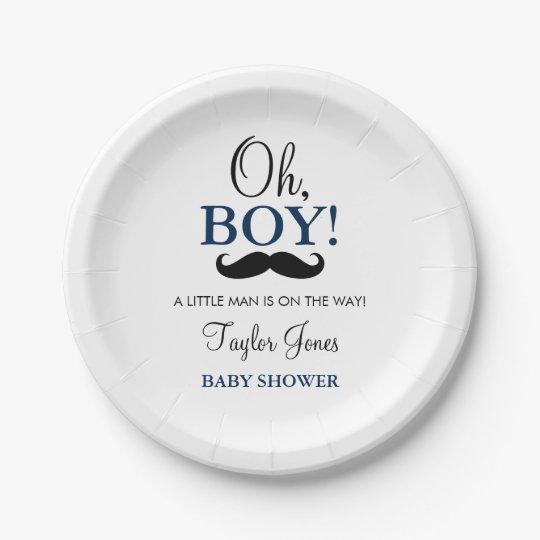 Oh Boy Mustache Baby Shower Paper Plates  sc 1 st  Zazzle & Oh Boy Mustache Baby Shower Paper Plates | Zazzle.com