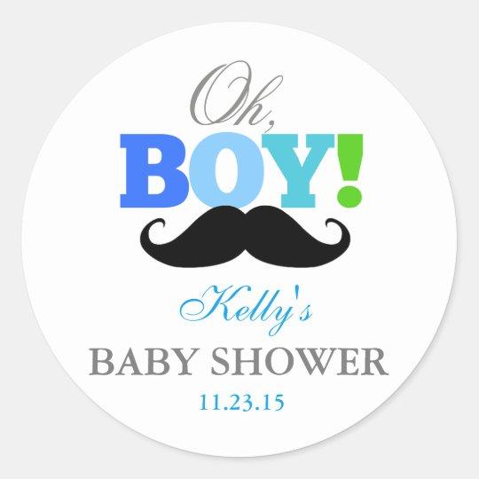 Oh Boy Mustache Baby Shower Party Favor Labels Zazzle