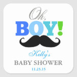 Oh Boy Mustache Baby Shower Party Favor Labels Square Sticker