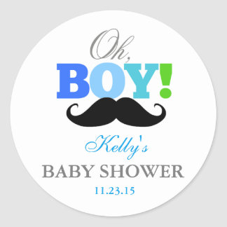 Oh Boy Mustache Baby Shower Party Favor Labels Classic Round Sticker