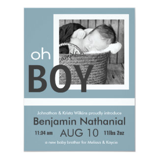 Oh Boy New Baby Photo Birth Announcement