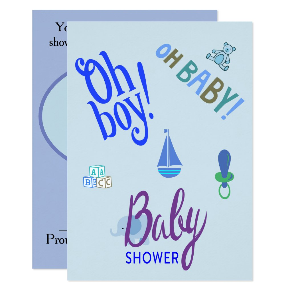Oh Boy! Oh Baby! Baby Shower Card