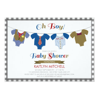 Oh Boy Onsies - Baby Shower Invitation