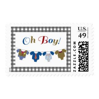 Oh Boy Onsies - Baby Shower Stamp