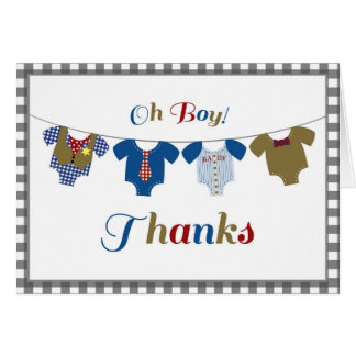 Oh Boy Onsies - Thank You Note Card