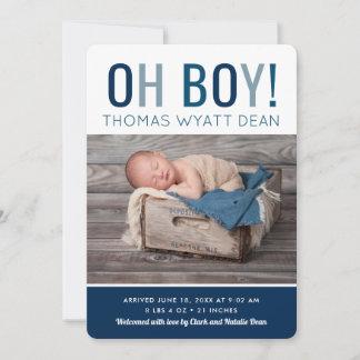 Oh Boy Photo Birth Announcement