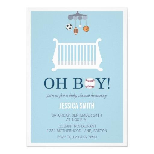 Oh Boy   Sports Baby Shower Invitation Invites